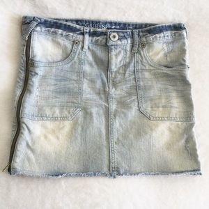 Guess Denim Jean Skirt Size Zippers 29